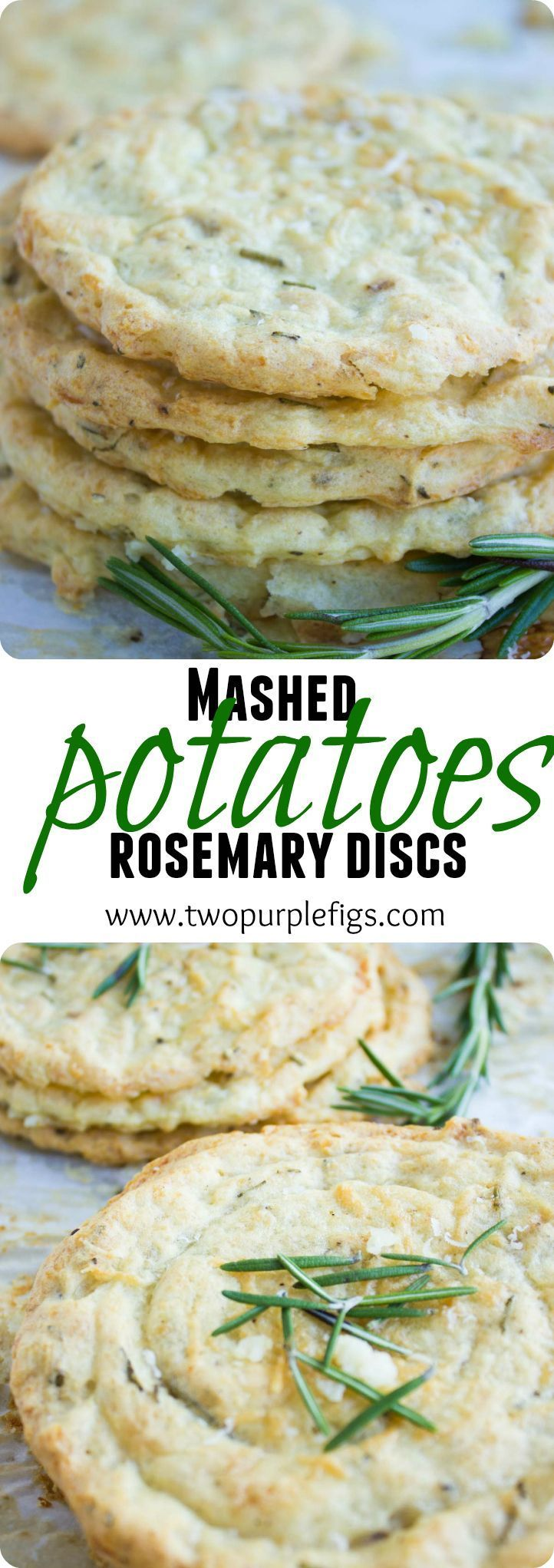 Got left over mashed potatoes? Transform them into these mashed potato rosemary crips--a crisp masked potato cookie with a soft interior flavored with fresh rosemary! Perfectly gluten free. www.twopurplefigs.com