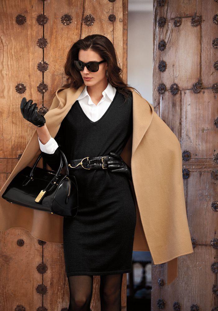 Lauren Ralph Lauren Fall 2012 camel coat / black dress, white shirt, classy  x