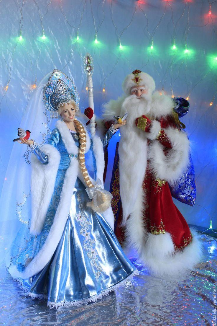 вязаные игрушки дед мороз и снегурочка схемы