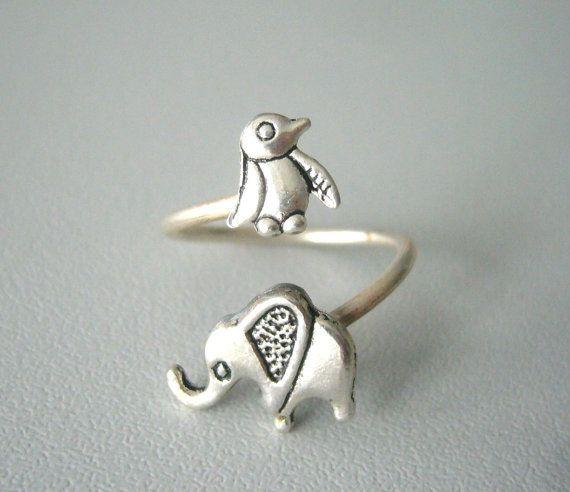 silver penguin elephant ring wrap style on Etsy, $19.00