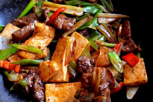 """Scallion Ginger Beef and Tofu is a popular dish commonly found in Chinatown takeout or lunch places and usually served over rice with lots of """"wok hay,"""" or wok-seared flavor. Quite easy to make! Just make sure your wok is screaming hot when you're cooking this, and"""