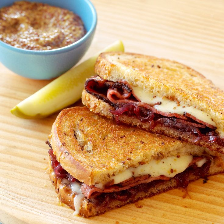 JANUARY 14th is NATIONAL HOT PASTRAMI SANDWICH DAY - Pastrami, Swiss, and Onion Marmalade on Rye - Creative grilled cheese recipes - Sunset