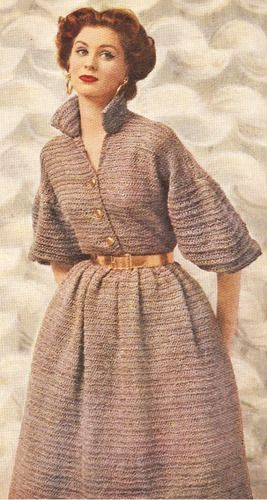 Vintage Quick-Knit Designer Dress Knitting Pattern Easy BrownDress