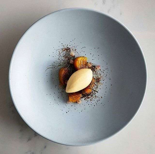 Kunzea ice cream • golden beets • wild thyme honey • compressed snowberries • dusted koji • by @joshretzz #food #foodie #foodporn #foodgasm #foodgram #foodphotography #foodism #asia #asian #icecream #pastry #beets #goodfood #goodlife #cheflife #pastrychef #gourmet #art #artonaplate #sweet #dessert #sweettooth #fancy #instafood #chocolate #cake #baking #honey #berries #patisserie .