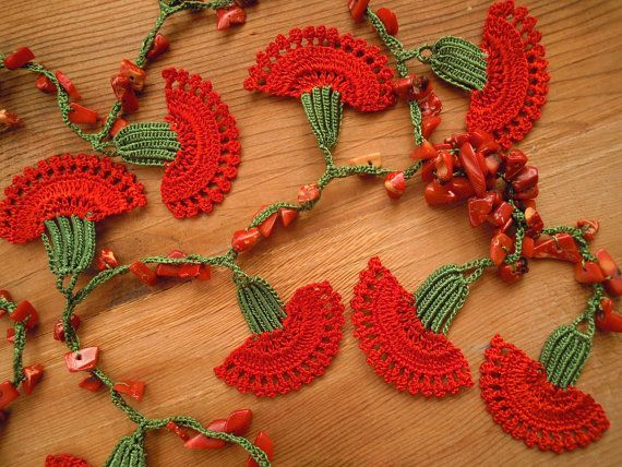 crochet flower necklace red carnation by PashaBodrum on Etsy