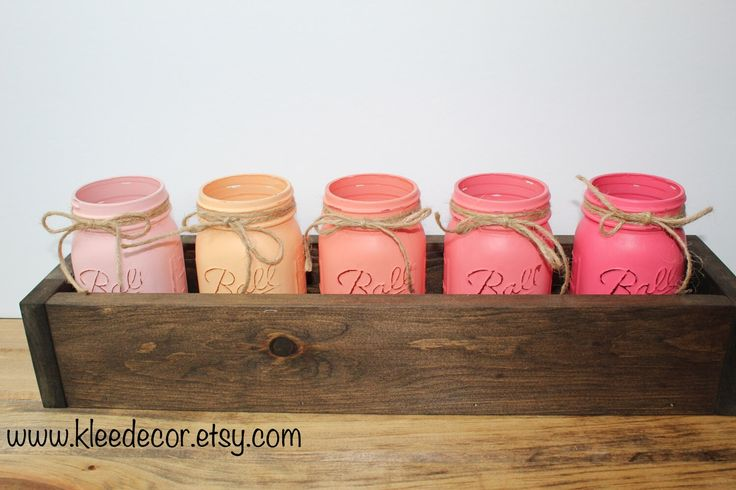 Wooden Planter Centerpiece with Handpainted Distressed Mason Jars