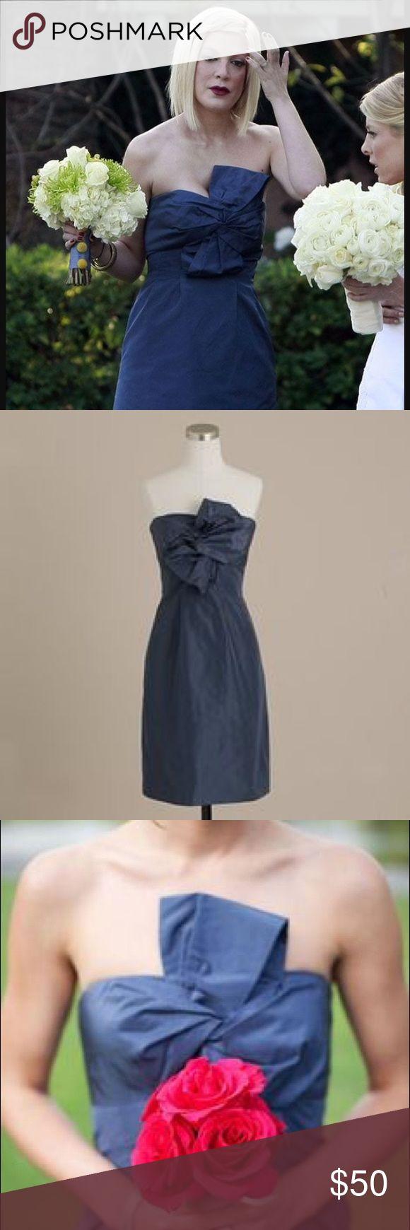 J Crew bridesmaid caspian blue Monde dress Worn once for a wedding! J. Crew Dresses Strapless