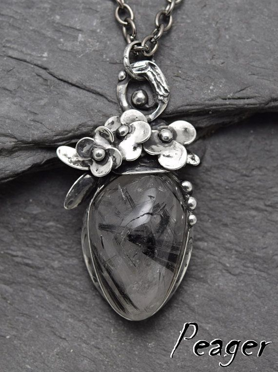 Tourmalated quartz pendantSoldered pendantFlower