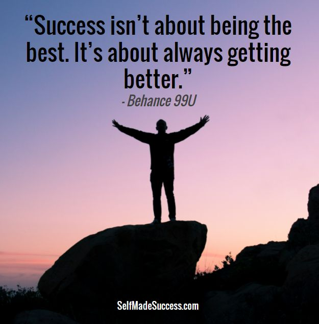 Famous quote on success by Behance 99U - Success isn't about being the best. It's about always getting better.