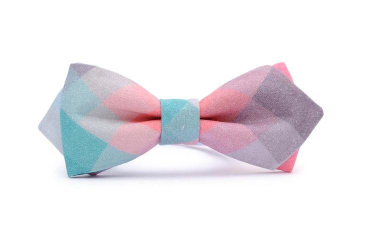 PASTEL PIXEL diamond shape, unique bow tie. Organic, certificated cotton!