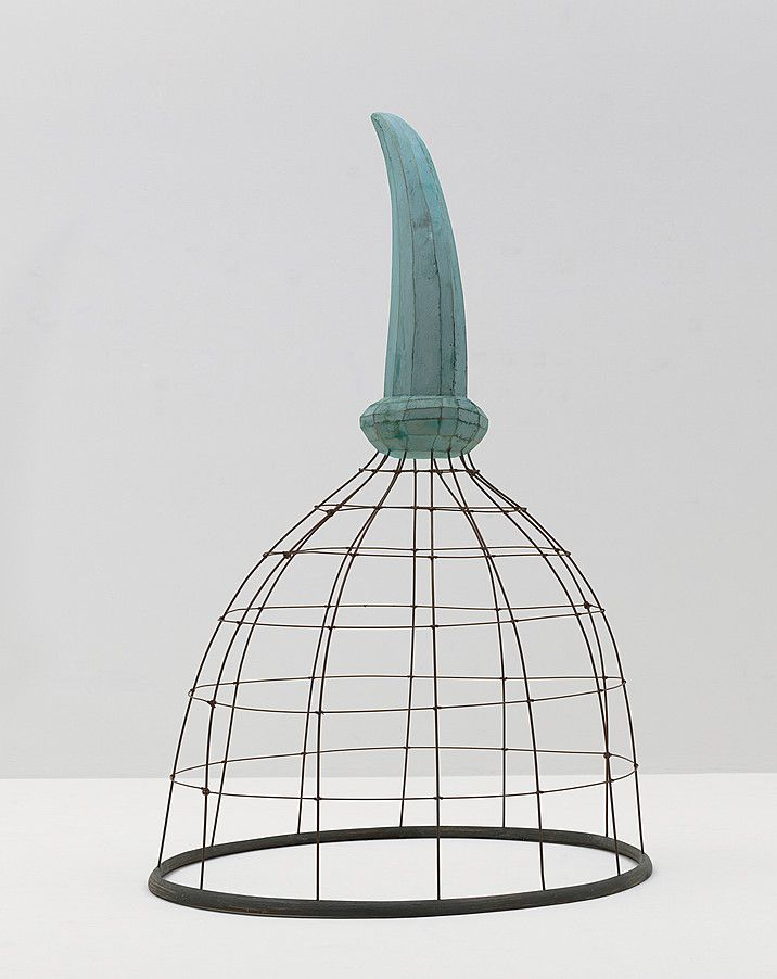 """Martin Puryear [USA] (b 1941) ~ """"Seer"""", 1984. Water-based paint on wood and wire (198 x 130 x 114 cm). 