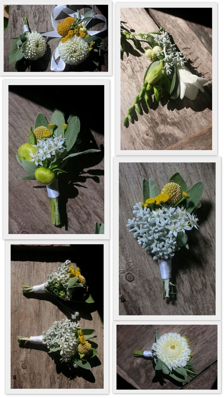 Yellow | Grey | White Boutonnieres and Corsages