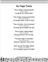 My Finger Family lyrics printout