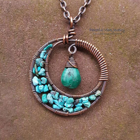 This is a super cool Turquoise crescent moon pendant that I made by hand forming solid copper wire. I added natural turquoise stones to the moon and a beautiful Turquoise briolette drop to the top. I love the way this turned out! Completely handmade by me and one of a kind! The