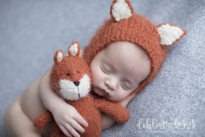 Plano Newborn Photographer, fox, newborn boy, grey