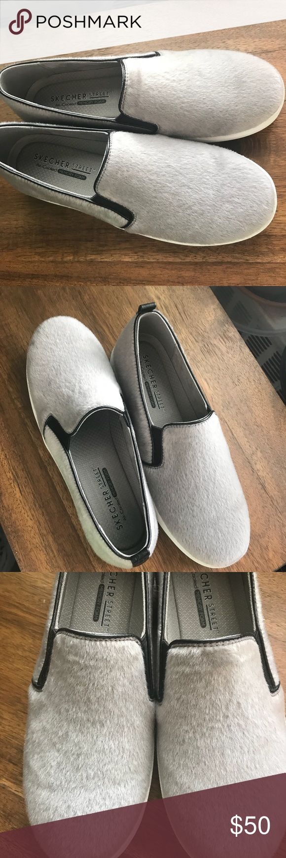 Skechers Slip On Sneaker Skechers Slip On Sneaker Faux gray fur Cushioned insole Never worn Excellent condition Shoes Sneakers
