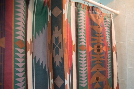 Southwestern Shower Curtain 1970's vintage by TheWesternBohemian