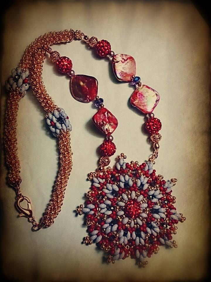 Collana realizzata con diverse tecniche di tessitura di perline giapponesi  e di Boemia, arricchita di cristalli e madreperla colorata.Il fulcro di essa è il pendente che rappresenta un mandala da me disegnato.