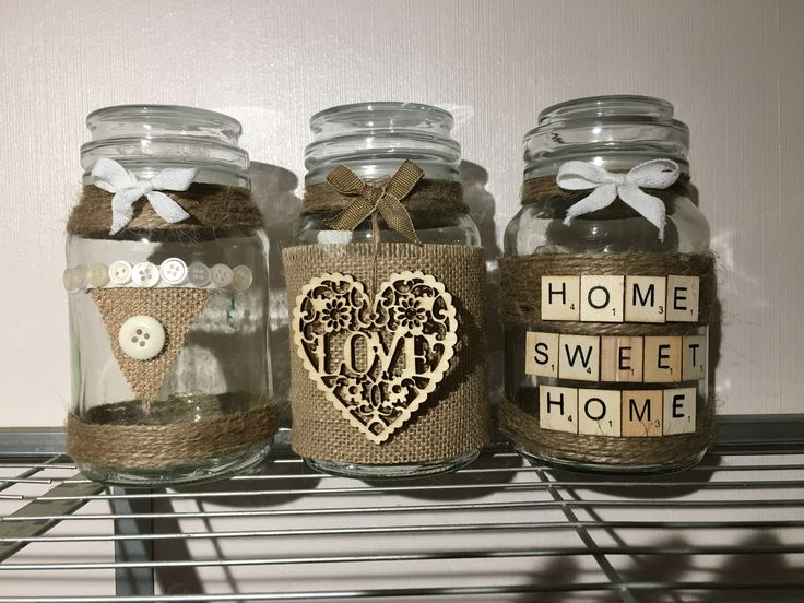 Spare jars which I have decorated.