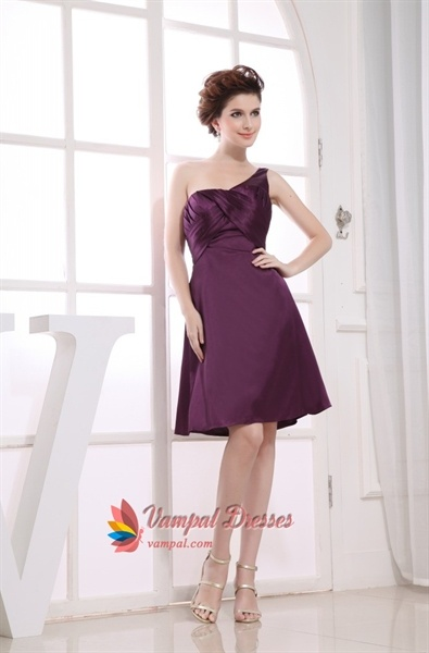 One Shoulder Empire Waist Cocktail Dress, Short Eggplant Prom Dresses