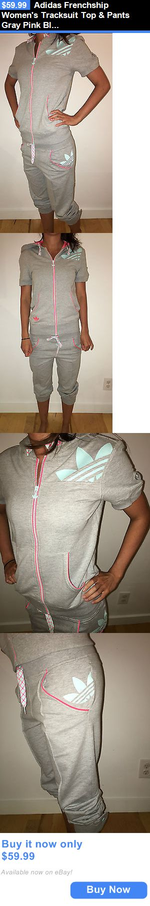 Women Athletics: Adidas Frenchship Womens Tracksuit Top And Pants Gray Pink Blue Z62991 Nwt BUY IT NOW ONLY: $59.99