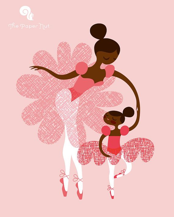 """ballerina mother and daughter / sisters. african american/ethnic. pink on pink. 8X10"""" giclee print on fine art paper // The Paper Nut on Etsy"""