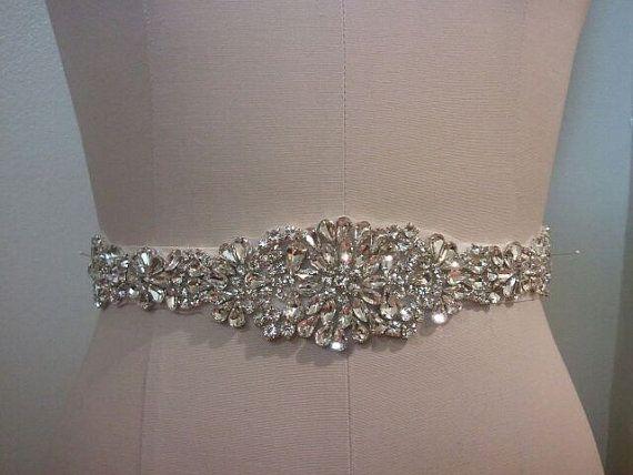 Wedding belt bridal belt sash belt crystal rhinestone for Rhinestone belts for wedding dresses