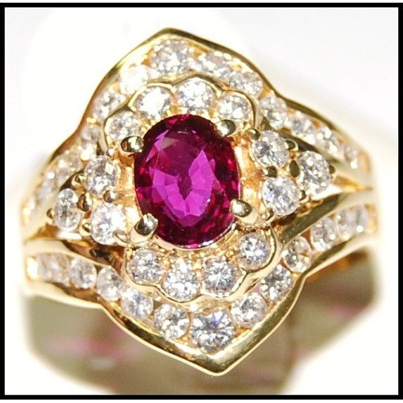 http://rubies.work/0433-sapphire-ring/ Wedding Diamond and Natural Ruby Ring 18K Yellow Gold by BKGjewels