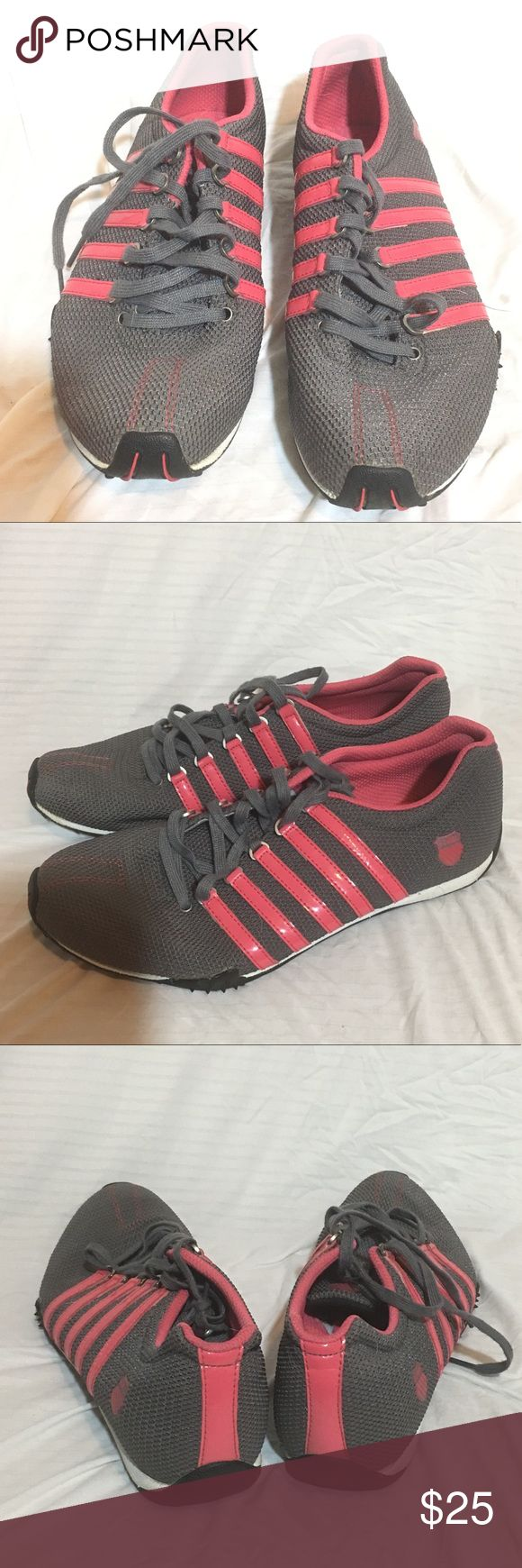 K Swiss gray and coral tennis shoes K Swiss gray and coral/pink tennis shoes in size 8.5. Good used condition. K Swiss Shoes Sneakers