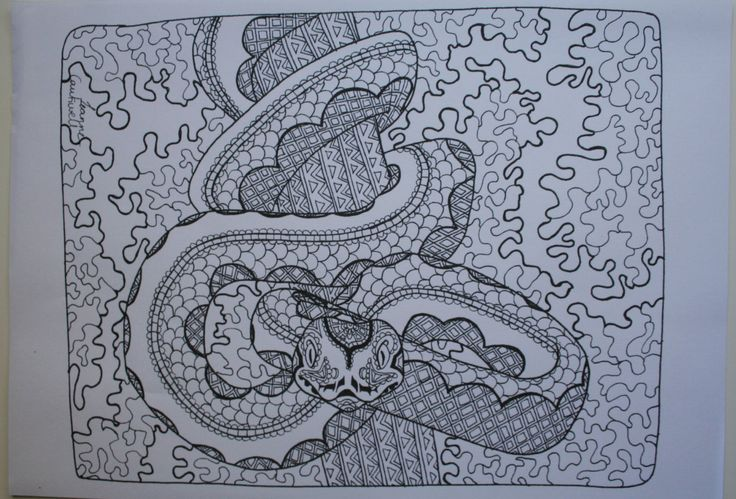 "Original Adult Coloring Book Page ""Patterned Python"" by LeanneCaukwellArt on Etsy"