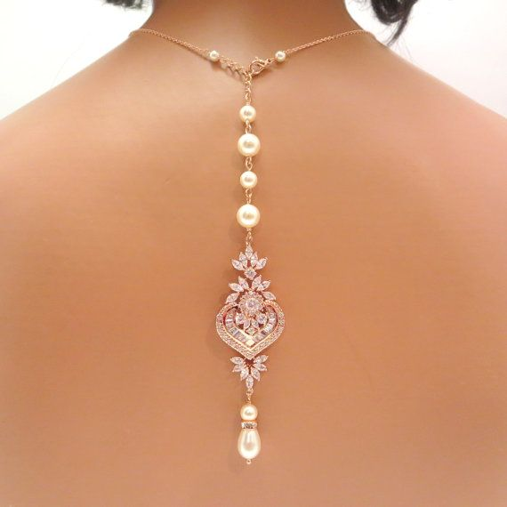 Bridal backdrop necklace Rose gold backdrop by treasures570, $105.00