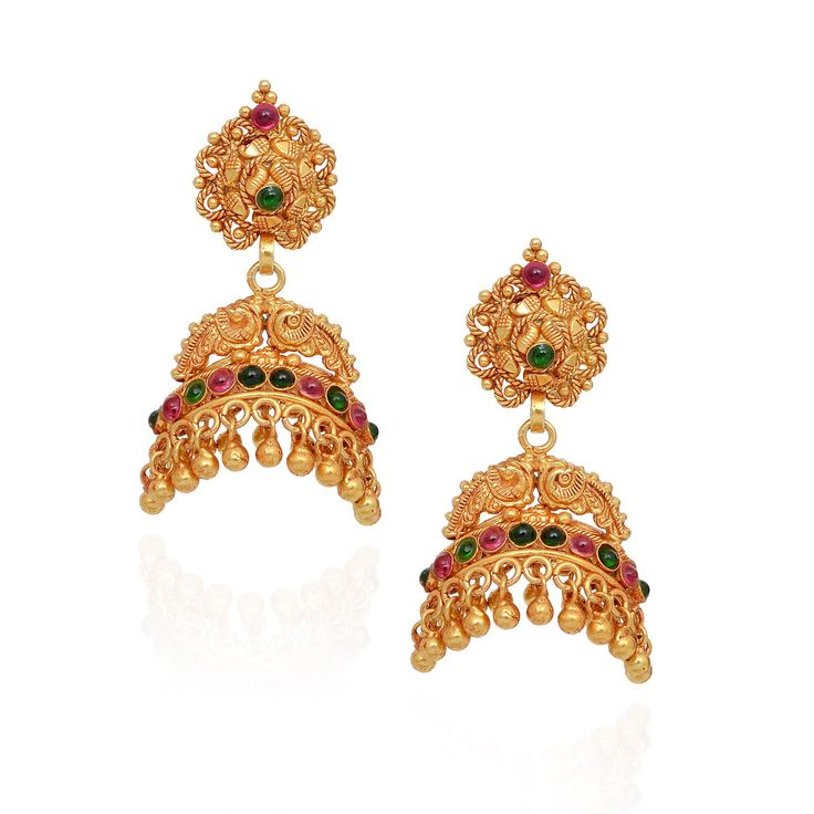 jhumki-Earrings | Fancy Yellow Beads Annapakshi With Red & Green Stone Layer Silver Jimmiki | GRT Jewellers