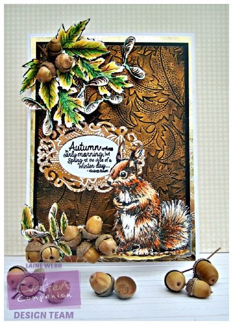 Dream Laine: Autumnal Celebration. Sheena Douglass Perfect Partners: Little Acorn Stamp - Sheena Douglass A Little Bit Sketchy Stamp Set: Autumn Leaves Stamp - Spectrum Noir markers/pencils: EB1, EB2, EB3, TN2, TN3, TN4, DG1, DG2, DG3, + 14, 21, 25, 45, 47, 91, 98, 102, 120. Crafter's Companion Downton Abbey: Antique Frame Die - Crafter's Companion Die'sire Sentimentals Rubber Stamps: Nature - Crafter's Companion Downton Abbey 5x7 Embossing Folders: Leaf Flourish Folder - #crafterscompanion