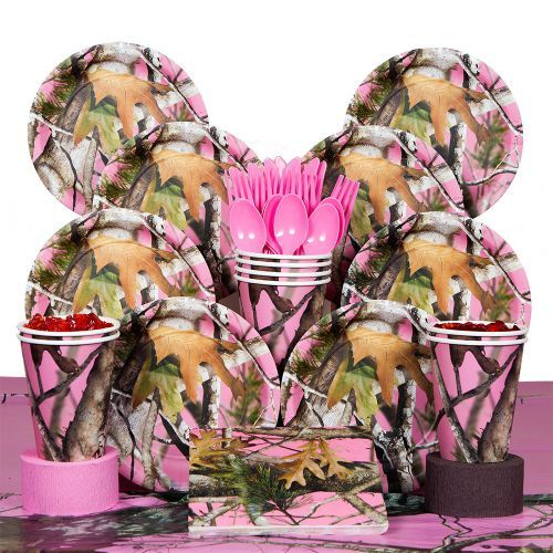 Pink Camo Deluxe Kit (Serves 8) - Decoration Kits & other Decorations from Birthday in a Box