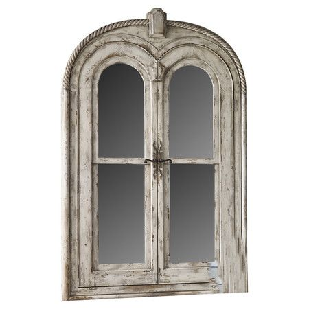 Perfect for your master suite or guest room, this distressed wood floor mirror features interior jewelry storage and an off-white finish.