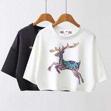 2017 Spring Summer New Leisure Cotton T Shirt Batwing Sleeve Fashion Deer Animal Print Women Tops Tshirt White Black Christmas(China (Mainland))