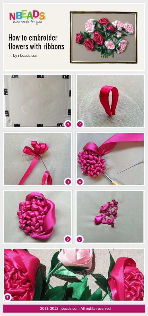 how to embroider flowers with ribbons