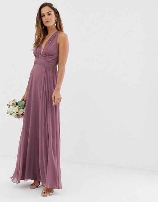 ed5b00d135fcac DESIGN Bridesmaid ruched bodice maxi dress with wrap waist in 2019 ...