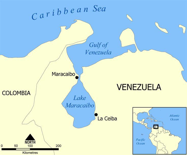 Lake Maracaibo map - Catatumbo lightning - Wikipedia