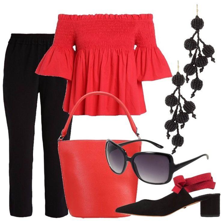 I pantaloni sono neri ed elasticizzati, con vestibilità aderente. La camicetta in cotone è rossa, lascia le spalle scoperte ed ha le maniche tre quarti a campana e sul seno è ricamata a nido d'ape. Rossa è anche la borsa a secchiello in similpelle. Le scarpe, a tacco medio, sono nere ed aperte dietro con un nastro in tessuto rosso da avvolgere attorno alle caviglie. La borsa è un secchiello in similpelle rosso. Gli occhiali da sole con monta...