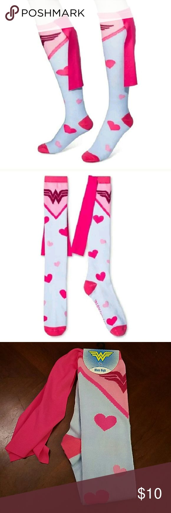 DC Wonder Woman Superhero Hearts Knee High Socks BRAND NEW! Women's DC Wonder Woman Knee-High Socks - Bioworld Socks  Fits Shoe Sz 5-10   Sock Size 9-11  Style Number - KH4T4LDCO00TA00  Ladies Knee-High Socks. These are light blue with pink hearts and Wonder Woman's logo in pink and sparkles. At the top of the socks is a pink cape. Fits ladies shoe size 5 -10. This is new with the factory tag attached.  I also have Women's Marvel Captain America Socks and Women's Marvel Deadpool Socks…