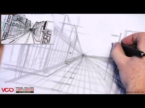 Free video tutorial on how to draw a city in One Point Perspective Part 1 of 5 Visual College of Art and Design of Vancouver  626 West Pender Street #500  Vancouver, BC V6B 1V9  (800) 356-8497    Watch full VCAD tutorial online: http://www.vcad.ca/sm-how-to-draw-a-city-in-one-point-perspective/  Subscribe to VCAD: http://youtube.com/subscription_center?add_user=VancouverVCAD  Like VCAD: http://facebook.com/VCAD.ca  #onepoint #city #drawing #tutorial #perspective