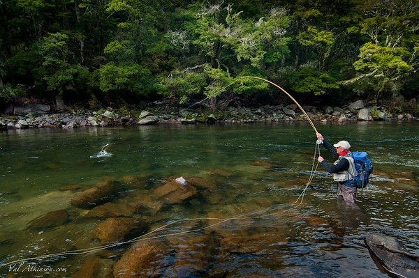 Sean Andrews jumping a fine rainbow on the Mohaka, North island