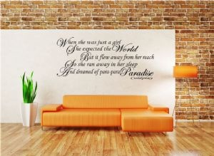 Coldplay Paradise Song Lyric - Vinyl Wall Art Stickers Decal I NEED THIS ON MY WALL!!