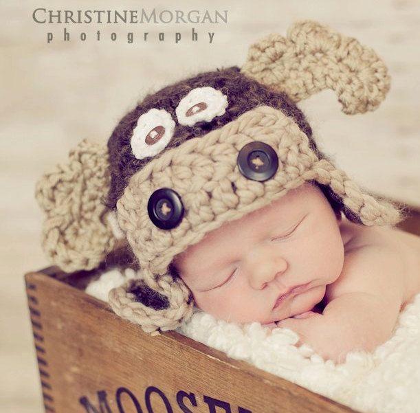 Baby Moose Hat - Crochet Baby Boy Hat - Photography Prop - Brown - Max the Moose - Size Newborn, 0-3 mos,  3-6 mos. $35.00, via Etsy.