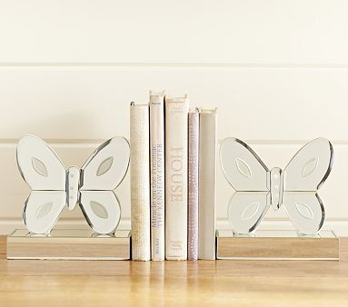 Mirrored Butterfly Bookends #pbkids - Like these for the headboard; in keeping with the butterfly theme