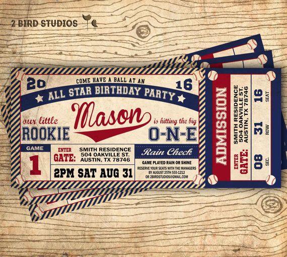 Vintage Baseball Birthday Invitations: Baseball Birthday Invitation Baseball Ticket By