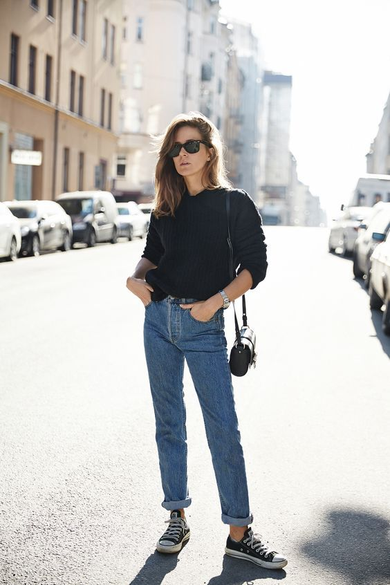 Denim straight cut jeans, with a simple black jumper, and black accessories. Simple but stylish.