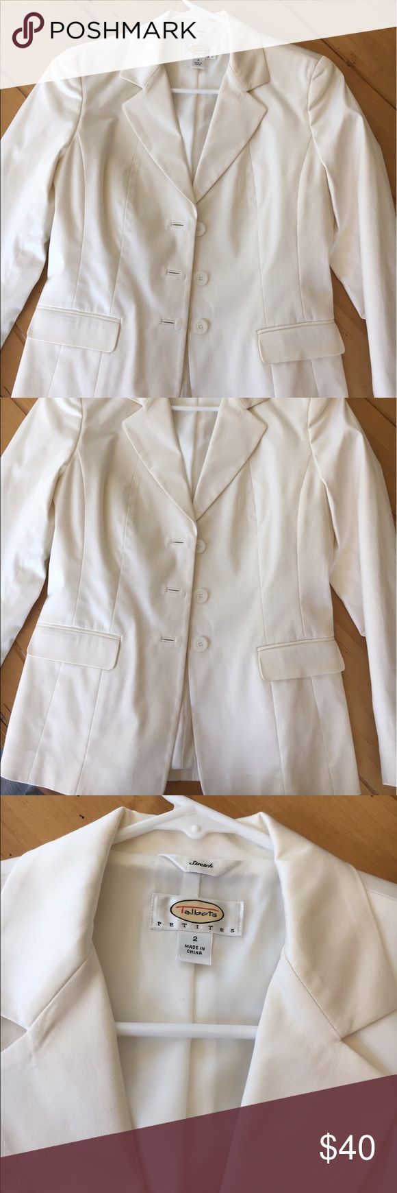Talbots Petites suit jacket/blazer Versatile white/cream stretch jacket that can be worn with a suit or paired with a more casual outfit for a chic look; in great condition - only worn once! Just needs to be ironed/steamed Talbots Jackets & Coats Blazers