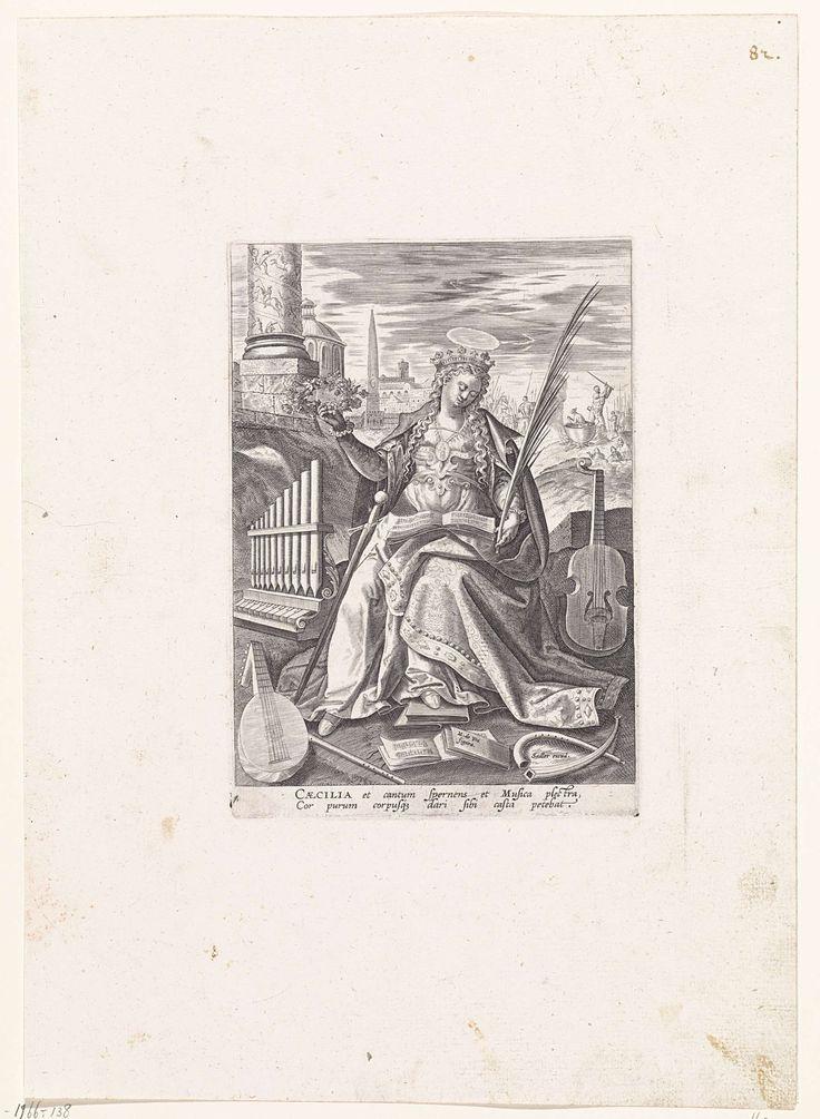 Johann Sadeler (I) | Heilige Caecilia, Johann Sadeler (I), 1583 - 1587 | De gekroonde H. Caecilia, zittend met palmtak in de hand, een muziekboek op de schoot. Om haar heen verschillende muziekinstrumenten: portatief, luit, fluit, kromhoorn, viola da gamba en twee muziekboeken. Op de achtergrond rechts de onthoofding van de heillige. De zesde prent van een zeventiendelige serie met vrouwelijke heiligen.